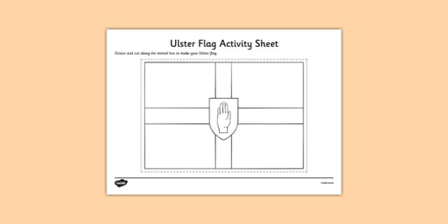 Ulster Flag Colouring Sheet - provinces of Ireland, Leinster, Munster, Connacht, Ulster, colouring sheets, flags