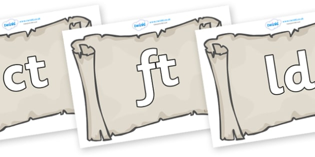 Final Letter Blends on Scrolls - Final Letters, final letter, letter blend, letter blends, consonant, consonants, digraph, trigraph, literacy, alphabet, letters, foundation stage literacy