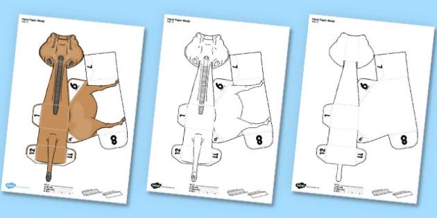 3D Horse Paper Model Activity - paper, model, zoo, ark, prop
