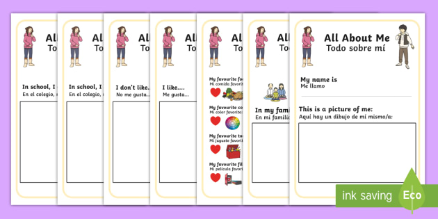 All About Me Booklet English/Spanish - me, myself, ourselves
