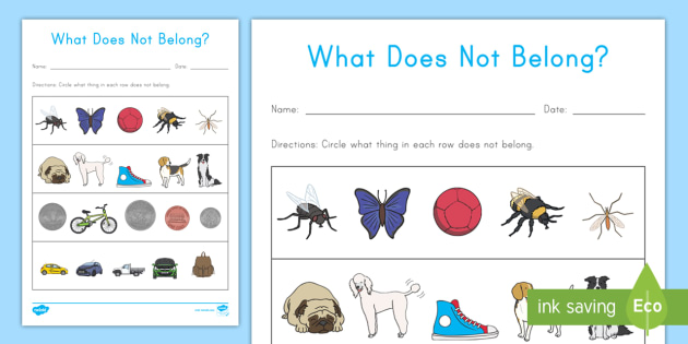 What Does Not Belong Worksheet / Activity Sheet - compare