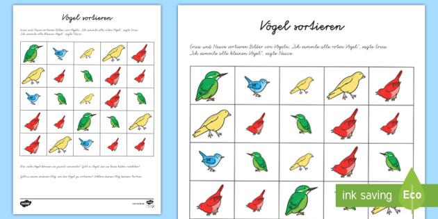 Vier Vögel Arbeitsblatt - Mathe, Rechnen, Plus, Mal, Minus