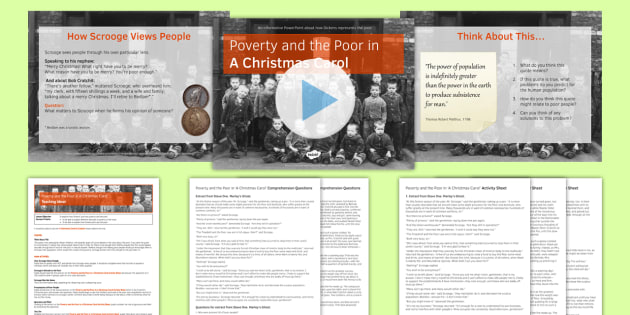 A Christmas Carol Lesson Pack 4: Poverty and the Poor - Stave Three - poverty, poor, christmas carol