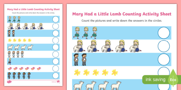Mary Had A Little Lamb Counting Sheet