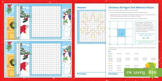 christmas six figure grid reference worksheet activity sheets maps plotting ks3