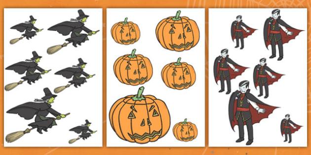Halloween Size Ordering - halloween, size ordering, size, size ordering activity, size and shape, size arranging, themed size ordering, halloween activites