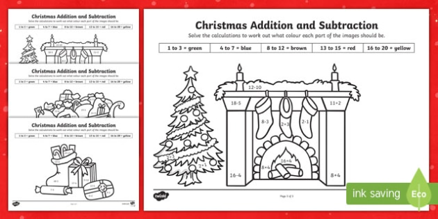 Christmas Additon and Subtraction to 20 Colour by Number