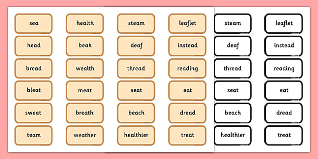Alternative Pronunciation of EA Sorting Game - phonics, phase 5, phase 5 DfE, letters and sounds