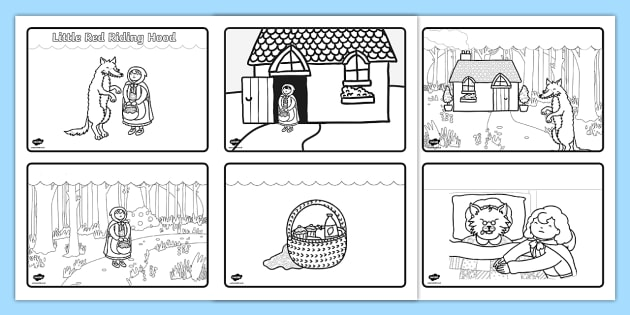 photo relating to Little Red Riding Hood Story Printable identified as Small Purple Driving Hood Tale Sequencing (4 for each A4) - Very little