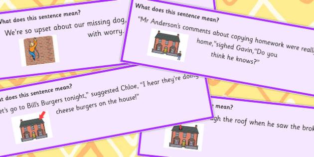 Building Idioms Sentence Cards - Builds, Idiom, Idioms, Sentences
