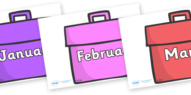 Months of the Year on Book Bags - Months of the Year, Months poster, Months display, display, poster, frieze, Months, month, January, February, March, April, May, June, July, August, September