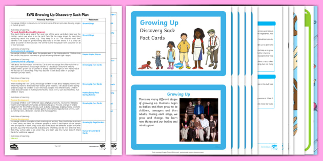 EYFS Growing Up Discovery Sack Plan and Resource Pack - EYFS, Early Years, KS1, All About Me, Ourselves, growing, growing up, people