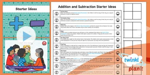 * NEW * PlanIt Maths Y1 Addition and Subtraction Starter Ideas Pack - Part Whole, add, plus, minus, find the difference, game, understanding, fluency, reasoning, problem-solving, tal