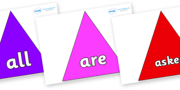 Tricky Words on Triangles - Tricky words, DfES Letters and Sounds, Letters and sounds, display, words