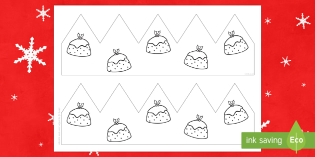 Christmas Pudding Party Hat Template Activity