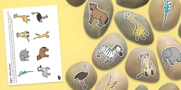 Safari Themed Story Stone Image Cut-Outs - story stone, safari, image