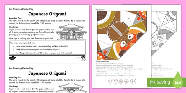 Origami Worksheet / Activity Sheet