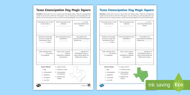 Texas Emancipation Day Magic Square Worksheet - Abolition ...