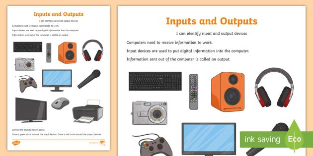 Computer inputs and outputs worksheet activity sheet ks