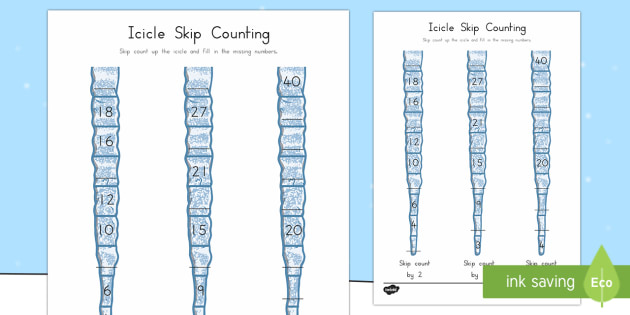 Icicle Skip Counting Math Activity Sheet - Winter, math, skip count, multiplication, worksheet