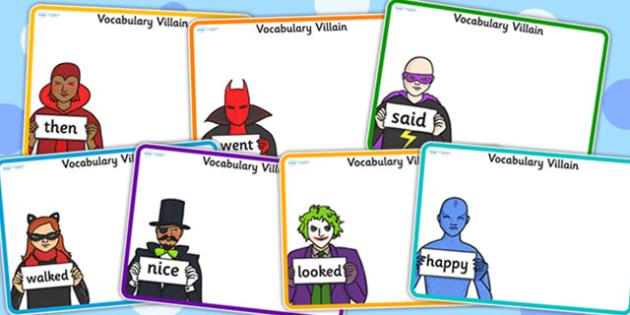 Editable Vocabulary Villain Word Mat Pack - word mat, editable word mat, emotions, vocabulary mat, editable vocabulary mat, mat of word, word mat pack