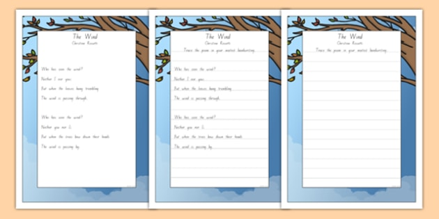 New Zealand The Wind Poem Handwriting Practice Activity Sheets, worksheet
