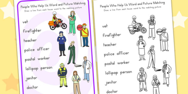 People Who Help Us Word and Picture Worksheet - matching, sort