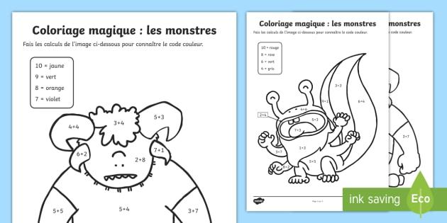 Coloriage Magique Les Monstres Coloriage Magique