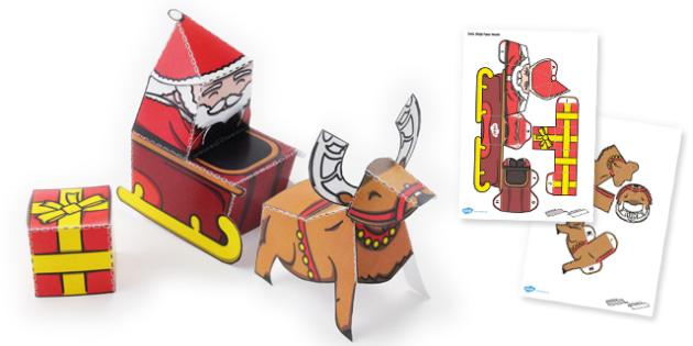Santa Scene Paper Model - santa, scene, paper model, craft, model