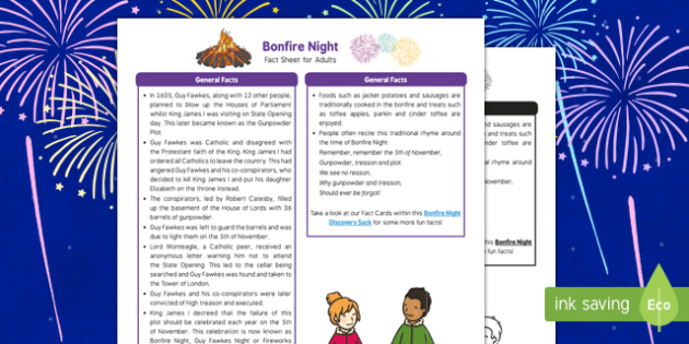 Bonfire Night Fact Sheet for Adults - fireworks, Bonfire Night information, Guy Fawkes