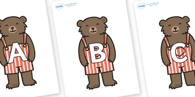 A-Z Alphabet on Little Bear - A-Z, A4, display, Alphabet frieze, Display letters, Letter posters, A-Z letters, Alphabet flashcards
