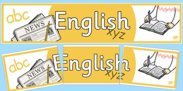 English Display Banner - english, literacy, english banner, literacy banner, english display, english display header, header for english display, writing