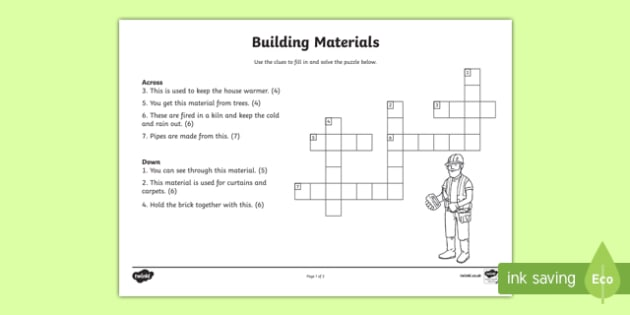 Materials to Build a House Crossword