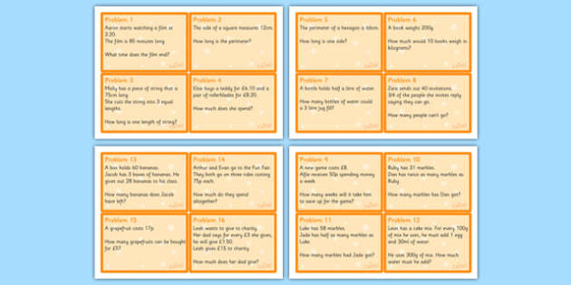 Maths Problem Cards Year 4 - maths problem cards, numeracy problem cards, maths problems, numeracy problems, maths scenarios cards, year 4 scenario cards, year 4 maths cards, year 4 different maths scenarios cards, maths question cards