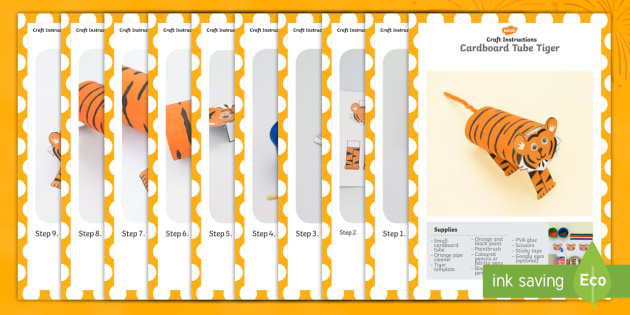 Cardboard Tube Tiger Craft Instructions - craft, cardboard, tiger, tuge, instructions
