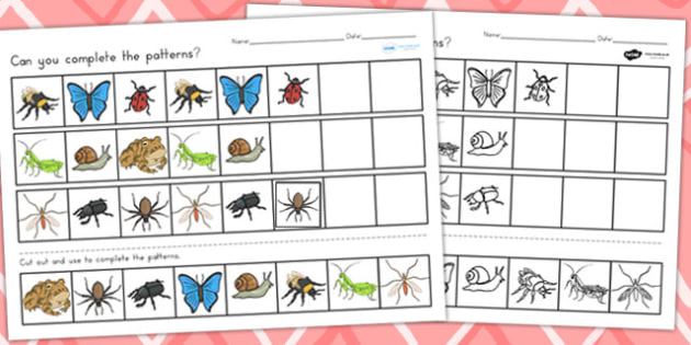 minibeasts complete the pattern worksheets minibeasts patterns. Black Bedroom Furniture Sets. Home Design Ideas