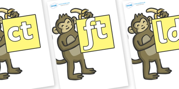 Final Letter Blends on Monkeys - Final Letters, final letter, letter blend, letter blends, consonant, consonants, digraph, trigraph, literacy, alphabet, letters, foundation stage literacy