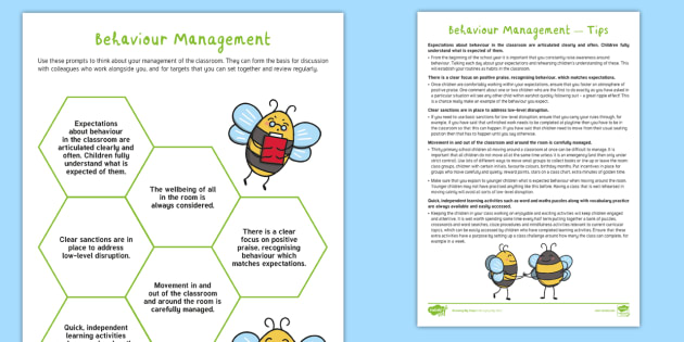 Managing my Class - Routines and Rules: Behaviour Management - Adult