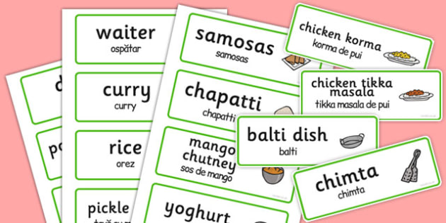 Indian Restaurant Role Play Word Cards Romanian Translation - romanian