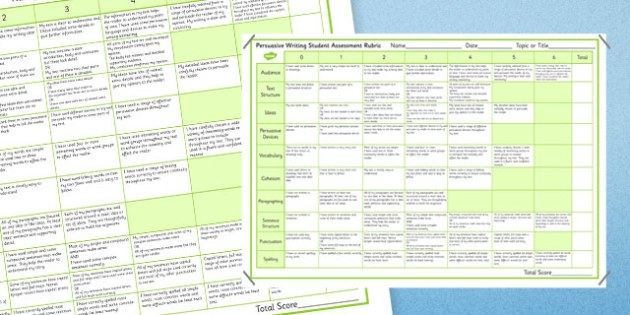 rubric for marking a persuasive essay Persuasive essay rubric directions: create a five paragraph persuasive essay with a proper introductory paragraph, body with main points and supporting details, and.