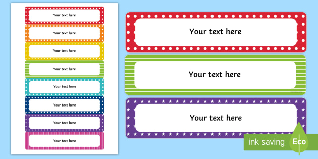 editable multicolour tray labels tray labels editable labels