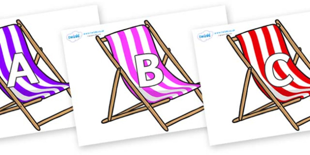 A-Z Alphabet on Deck Chairs - A-Z, A4, display, Alphabet frieze, Display letters, Letter posters, A-Z letters, Alphabet flashcards