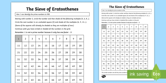 Sieve of Eratosthenes Worksheet / Worksheet - KS2, Maths, Year 5 ...