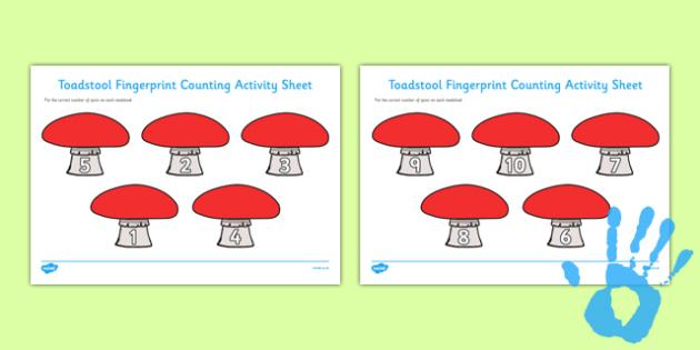 Toadstool Fingerprint Counting Activity Sheet Pack - EYFS activities, number, EAD, fairies, elves, woodland, worksheet