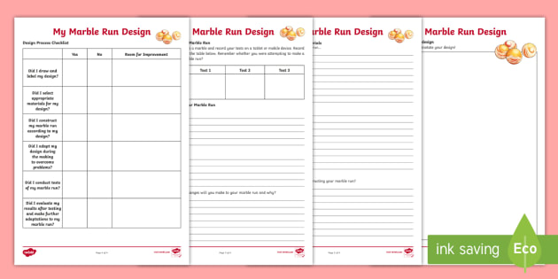 Design a Marble Run Worksheet / Worksheets - Australia YR 3