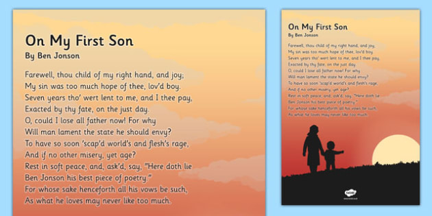 On My First Son' by Ben Jonson Poem Poster - KS2, KS3, Poetry