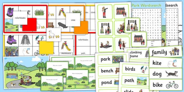 Park Vocabulary and Comprehension Pack - pack, park, eal, vocab