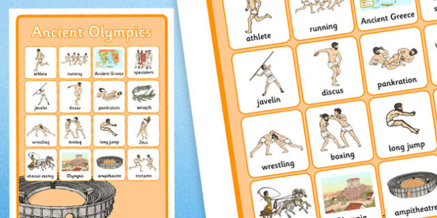 Ancient Olympics Vocabulary Poster - ancient olympics, vocabulary, poster, display