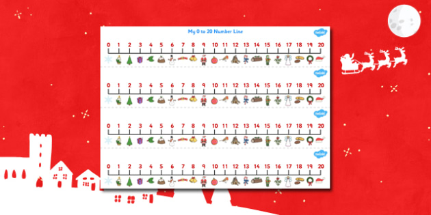 Christmas Number Line (0-20) - Christmas, xmas, Maths, Math, numberline, numberline display, tree, advent, nativity, santa, father christmas, Jesus, tree, stocking, present, activity, cracker, angel, snowman, advent , bauble, display, poster, Countin