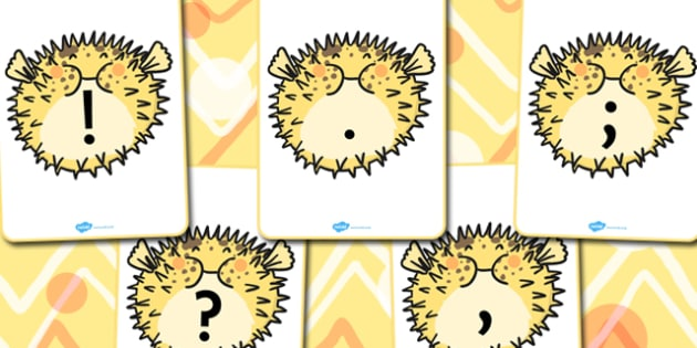 Punctuation on Puffer Fish - punctuation, fish, puffer fish